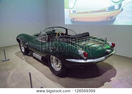 Los Angeles, CA, USA -- April 16, 2016: One of only 16 built, this 1956 Jaguar XKSS was formerly owned by Steve McQueen and is now part of the Margie and Robert E. Petersen Collection at the Petersen Automotive Museum in Los Angeles, California, United St
