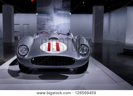 Los Angeles, CA, USA -- April 16, 2016: Silver and Red 1957 Ferrari 625/250 Testa Rossa by Scaglietti from the Collection of Bruce Meyer at the Petersen Automotive Museum in Los Angeles, California, United States. ** Note: Shallow depth of field