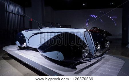 Los Angeles, CA, USA -- April 16, 2016: Dark and light blue 1938 Delahaye Type 135M by Figoni et Falaschi with a design that is inspired by an airplane is part of the collection of the Mullin Automotive Museum on display at the Petersen Automotive Museum