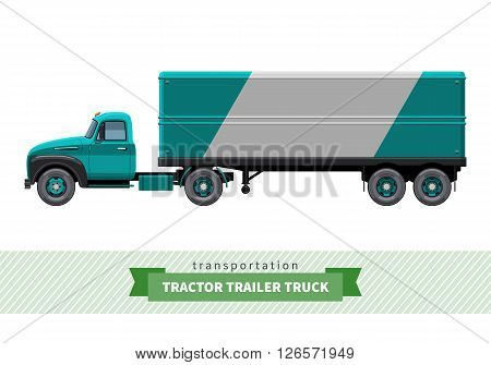 Classic Tractor Trailer Truck Side View