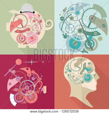 Time management, time is money, working time. Time for new ideas. Flat vector illustration.