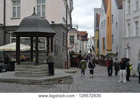 August 2015 - Old city of Tallinn Estonia. Tallinn Hall Square summer artesanal market place.