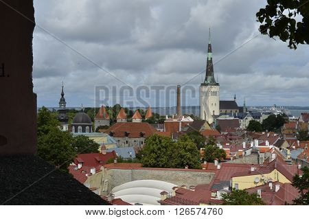 August, 2015  -  Old city of Tallinn, Estonia. Old stoned streets, houses and red roofs of old Tallinn in the summer day.