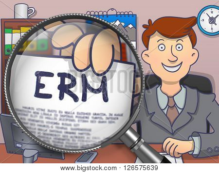 ERM - Enterprise Risk Management. Business Man in Office Workplace Showing Text on Paper through Lens. Multicolor Modern Line Illustration in Doodle Style.