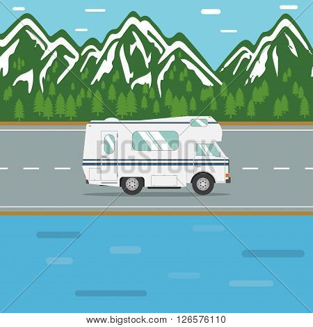 RV out wilderness road. Traveling in a recreational vehicle on a mountain road. Road trip in motorhome. Family traveler truck summer trip concept. RV travel landscape poster. Camper on road trip. poster