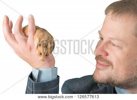 Man holding hamster on arm on white background