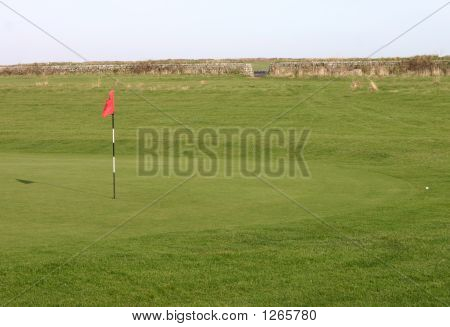 A Golf Ball On The Fringe Of A Green.