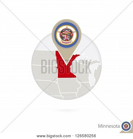 Minnesota Us State Map And Flag In Circle. Map Of Minnesota, Minnesota Flag Pin. Map Of Minnesota In