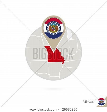 Missouri Us State Map And Flag In Circle. Map Of Missouri, Missouri Flag Pin. Map Of Missouri In The