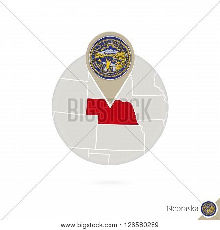 Nebraska Us State Map And Flag In Circle. Map Of Nebraska, Nebraska Flag Pin. Map Of Nebraska In The
