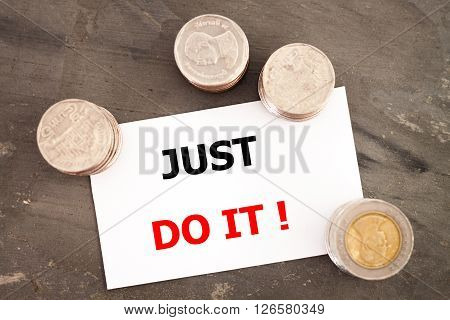 Just do it inspirational quote, stock photo