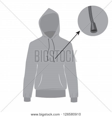 Hooded sweater. Vector Hoodie with solid and flat color design. Gray Sweater for fashion concept infographic.