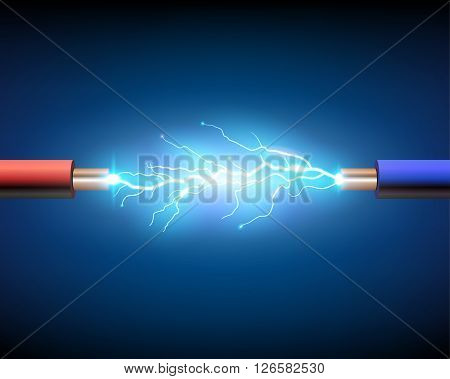 Red and blue electric cable with sparkle, vector illustration.