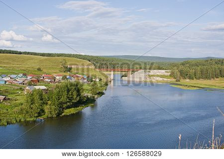 Beautiful Rural Landscape On The River By A Sunny Day