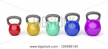 Front view of kettlebells with different sizes and colors on white background, 3d illustration