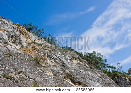 Beautiful Rock On A Background Brightly Blue Sky