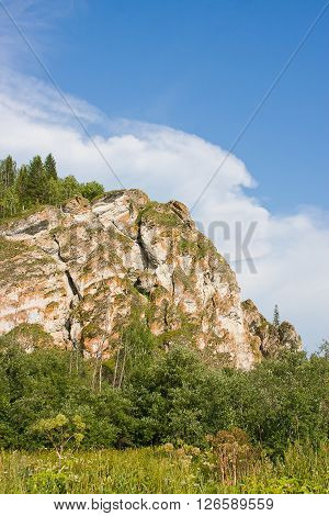 Beautiful Rock On A Background Blue Sky