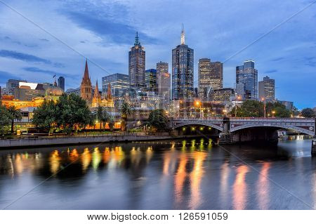 The city of Melbourne on the north bank of the Yarra River