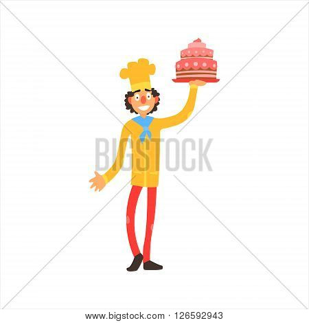 Profession Confectioner  Primitive Cartoon Style Isolated Flat Vector Illustration On White Background