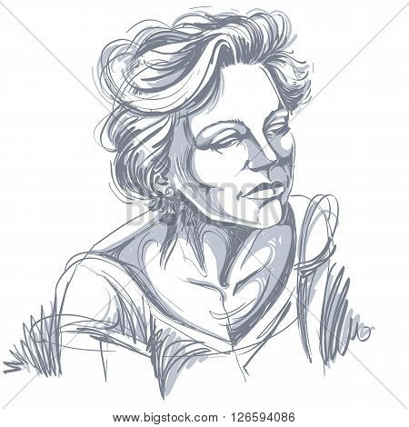 Artistic hand-drawn image black and white portrait of delicate stylish sorrowful girl. Emotions theme illustration.