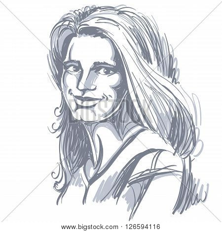 Graphic vector hand-drawn illustration of white skin attractive glad lady with stylish haircut. People positive face expressions smiling girl portrait.