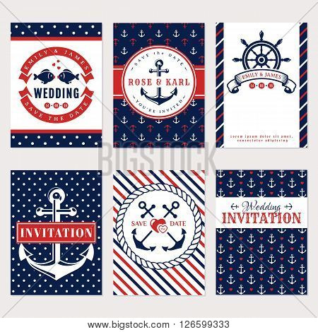 Nautical wedding invitation cards. Sea theme wedding party. Collection of elegant banners in white red and blue colors. Vector set.