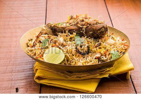 chicken biryani with leg piece, a favourite non veg dish in india