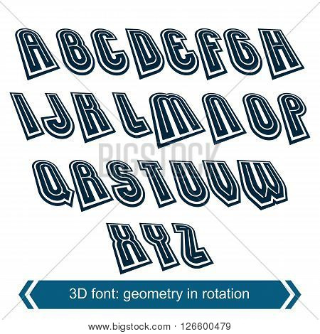 Dimensional shift letters with rotation effect creative geometric draft characters.