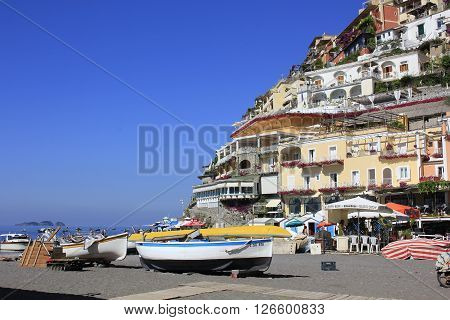 POSITANO, ITALY - JUNE 22: Positano, in Campania, Italy, June 22, 2014, is a major tourist destination and the coast's most picturesque and photogenic town