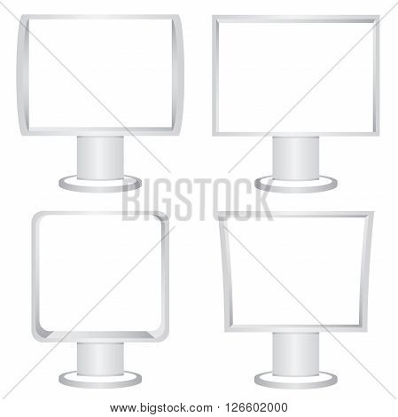 collection of 4 blank display billboards on white background
