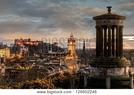 EDINBURGH SCOTLAND UK - 16 MARCH 2016: Edinburgh city skyline viewed from Calton Hill. United Kingdom.