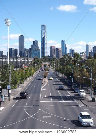 Melbourne Australia -April 17 2016: View along Swan Street to the west with Eureka Tower arts center and Southbank
