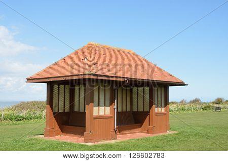 Seaside Shelter by coast in England Hunstanton UK