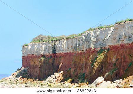 Limestone Cliffs by coast  at Hunstanton norfolk uk