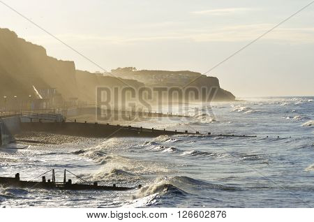 Rough sea at Cromer norfolk east anglia