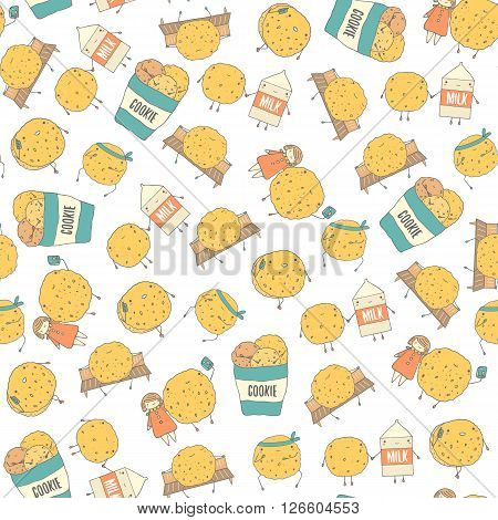 Cute hand drawn doodle seamless pattern with cookies including karate cookie cookie with phone cookie doing photo with girl cookie with milk. Pattern for food cover wrapping gift paper fabric