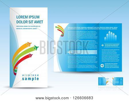 brochure booklet air plane fly blue white color background blue