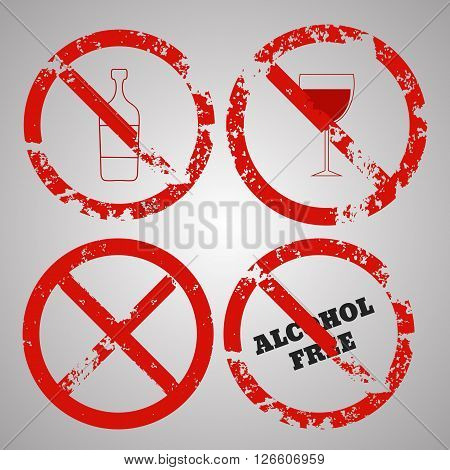 Alcohol Free Icons Set Vector Eps 10 Illustration