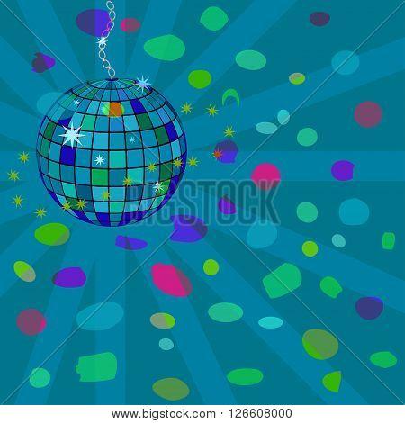 Vector abstract illustration, star disco sphere. Nightclub