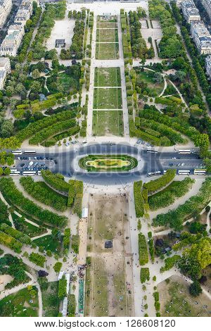 Aerial View on Champ de Mars from the Eiffel Tower in Paris