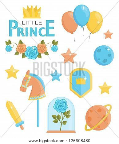 A set of cute little prince icons. Holiday and event decorations, design elements. Roses, planets, stars, toy weapons and horse.