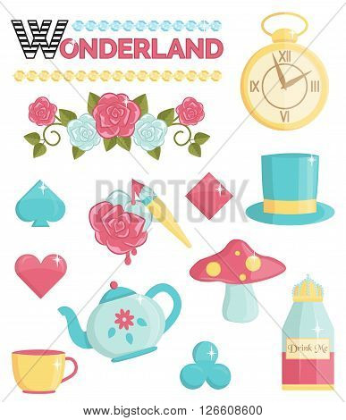 Cute wonderland magic dream illustrations set. Holiday and event decorations, design elements. Roses, potion, cards and other elements