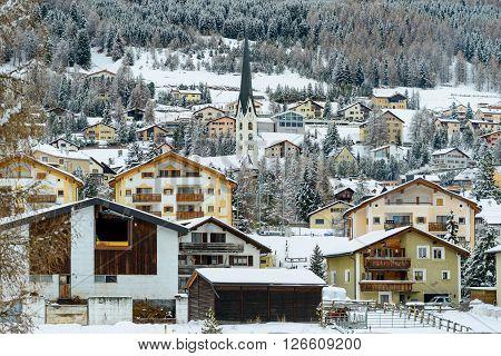 The village of Celerina near St Moritz in the Engadin valley.