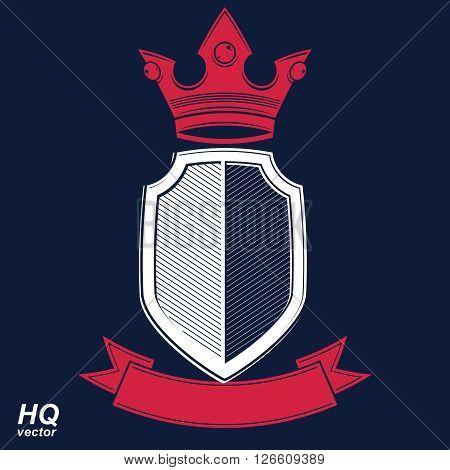 Empire design element. Heraldic royal coronet illustration, imperial striped decorative coat of arms. Luxury vector shield