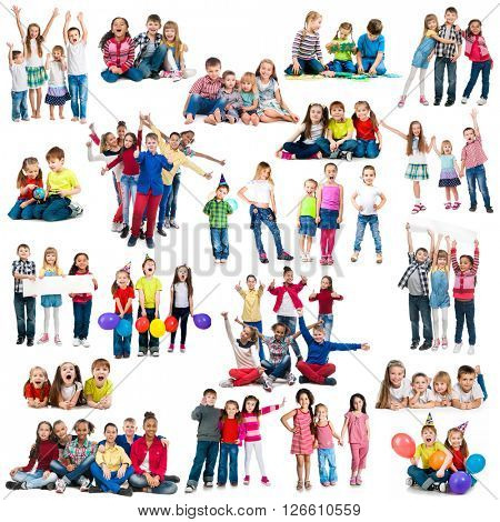 different-aged funny children in groups