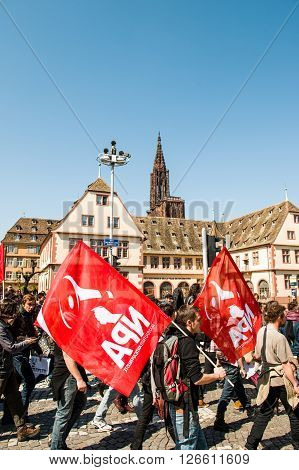 STRASBOURG FRANCE - APR 20 2016: People protesting in center of Strasbourg as part of nationwide day of protest against proposed labor reforms by Socialist Government