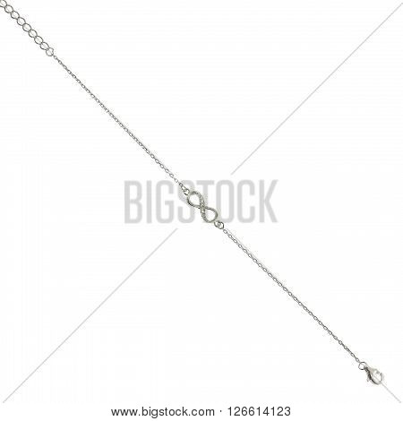 Silver bracelets with zirconium stones on white background