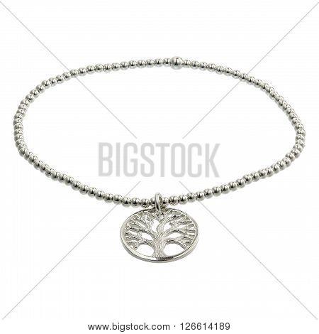 Silver bracelets with zirconium on white background