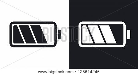 Battery icon stock vector. Two-tone version on black and white background