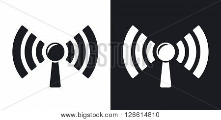 Broadcasting vector icon. Two-tone version on black and white background